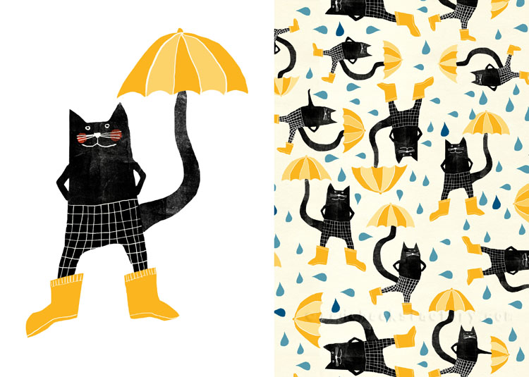 Umbrellas And Cats pattern 2 Nelleke Verhoeff