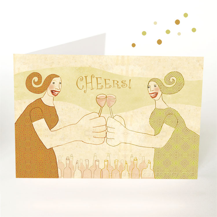 Cheers party postcard by Nelleke verhoeff