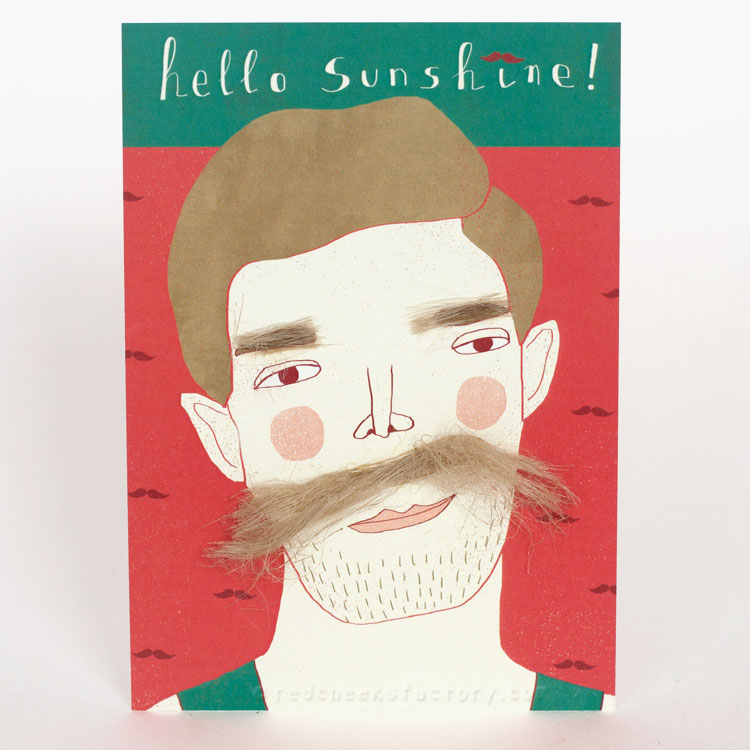 Hello Sunshine Moustache postcard by Nelleke Verhoeff