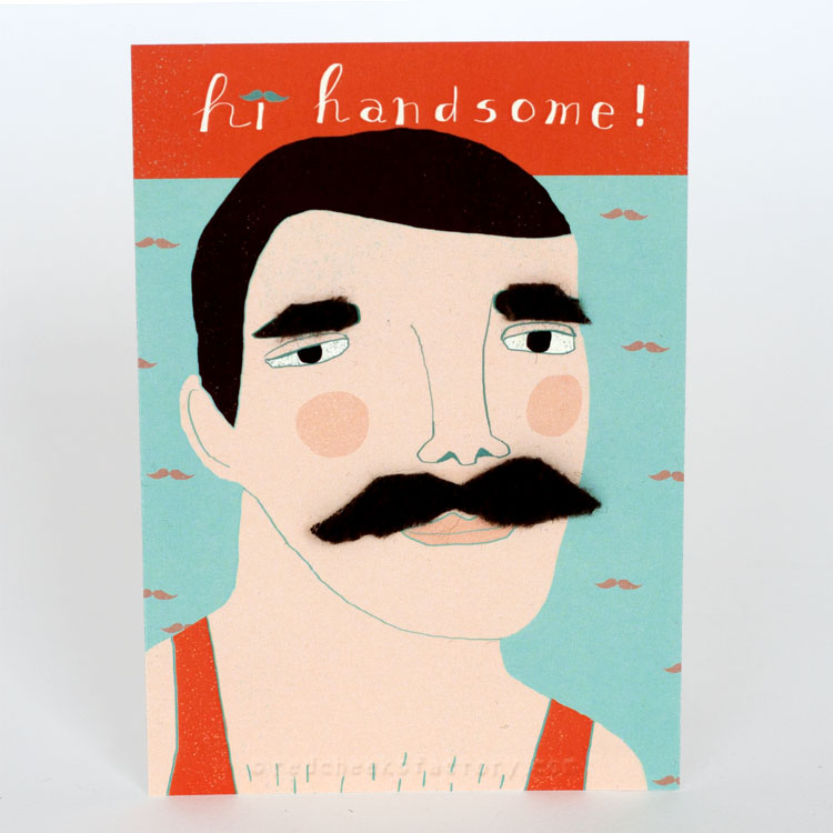 Hi Handsome Moustache postcard by Nelleke Verhoeff