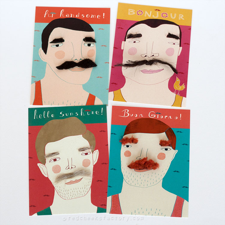 Moustache postcard set by Nelleke Verhoeff