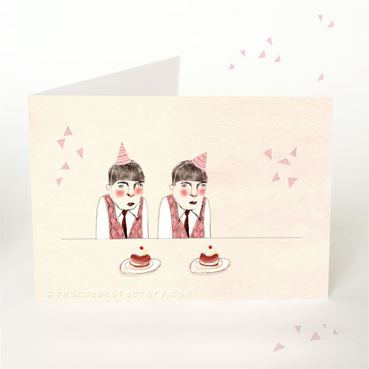 Party Twins party postcard by Nelleke verhoeff