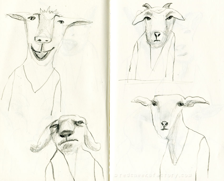 Goats pencil drawings from my sketchbook 2