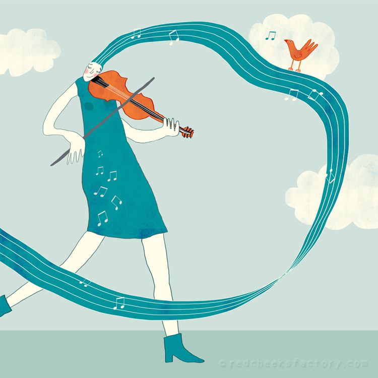 Violist with Bird