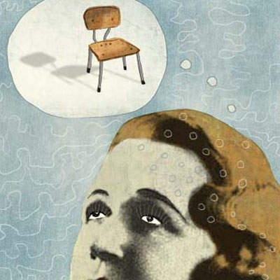 Illustration of a woman thinking of her favorite chair
